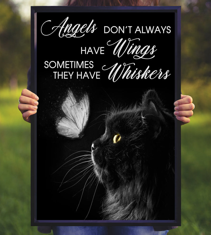 Black Cat Angel Have Whiskers Poster