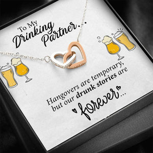 Funny Gift For Drinking Partner Couple Valentine Heart Necklace Card