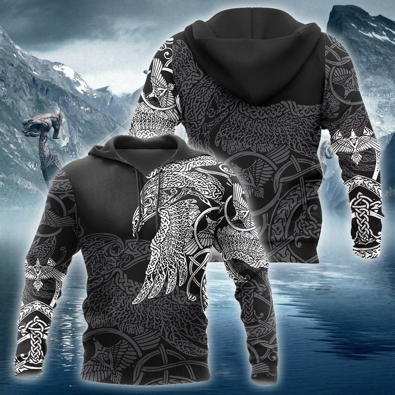 Raven Vikings Tattoo Full Printed 3D Hoodie