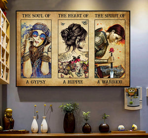 Vintage Girl Hippie Gypsy Soul Heart Spirit Warrior Poster