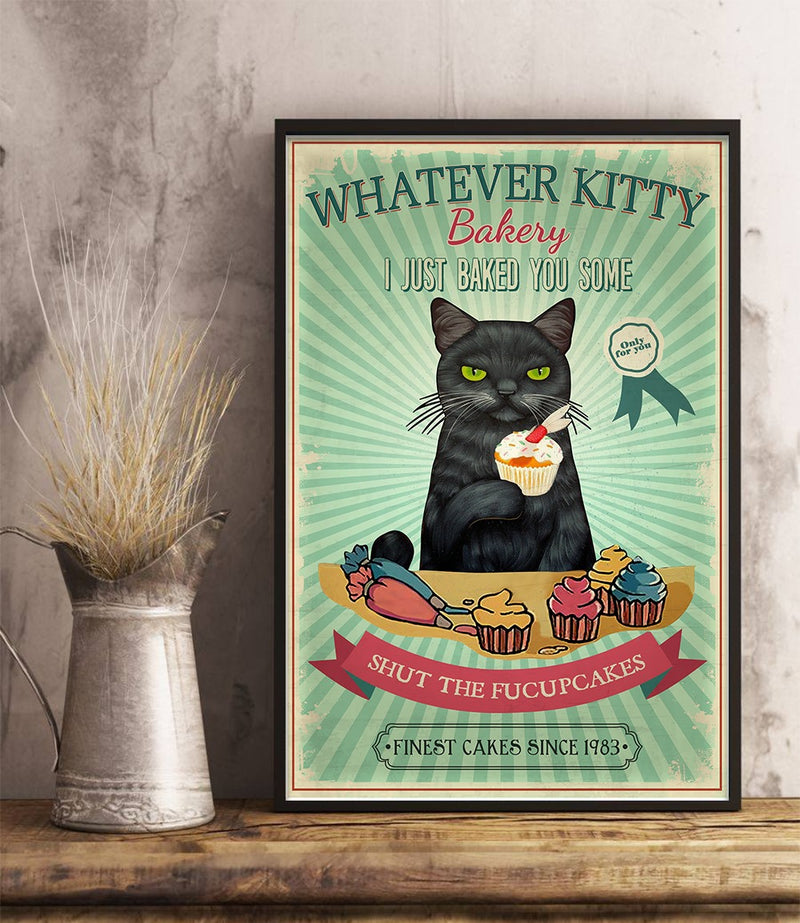 Black Cat Shut The Fucupcakes Whatever Kitty Bakery Vintage Poster