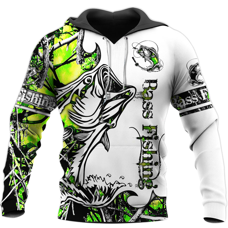 Love Bass Fishing Camoflage Layout Full Printed 3D Hoodie