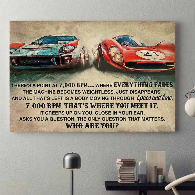 Love Racing Car Vintage Meaningful Quote Everything Fades 7000 RPM Gift Poster