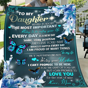 From Mom To Daughter Butterfly Meaningful Quote Christmas Gift Quilt