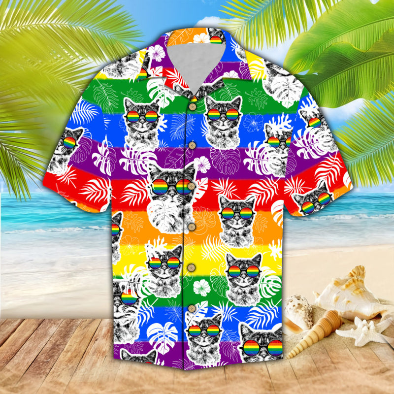 Rainbow Cats Sunglasses Hawaii Shirt