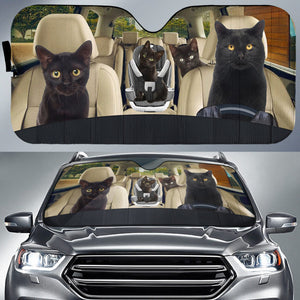 Black Cat Kitty Cat Family Car Sun Shade Auto Sun Shade