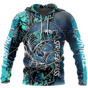 Love Fishing Striped Bass Camoflage Full Printed 3D Hoodie