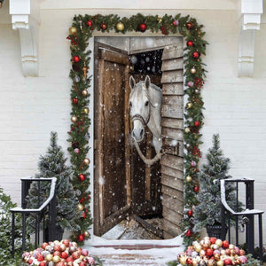 Horse Lover Christmas Printed Door Cover