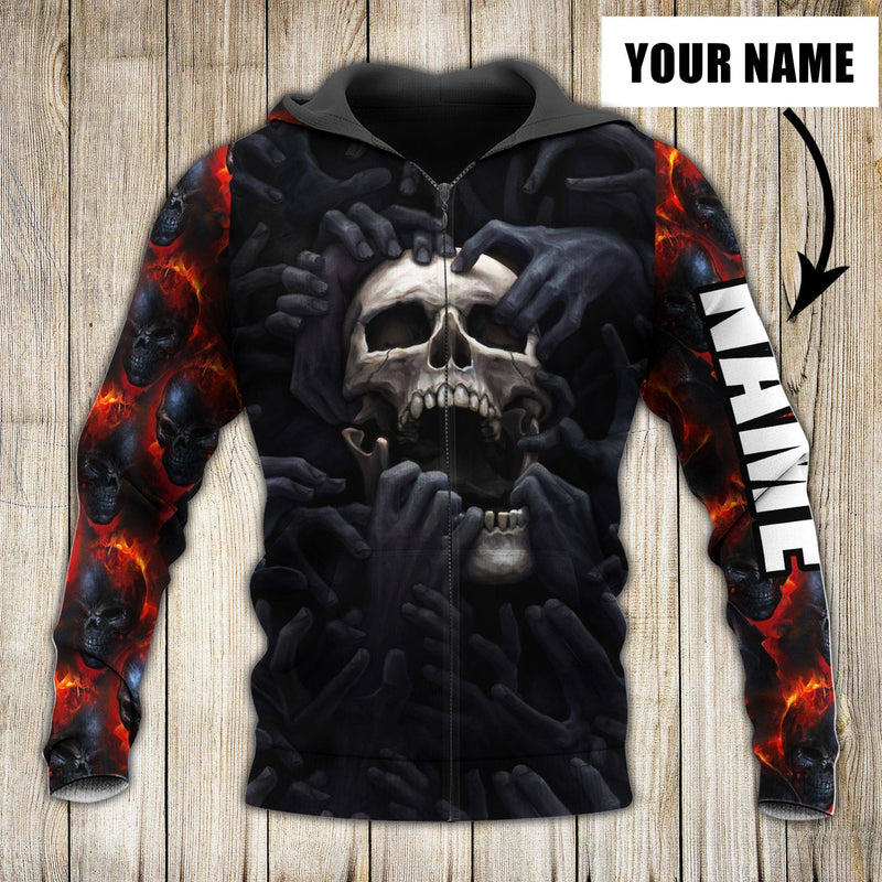 Personalized Customized Fire Skull Love 3D Printed Zip Hoodie