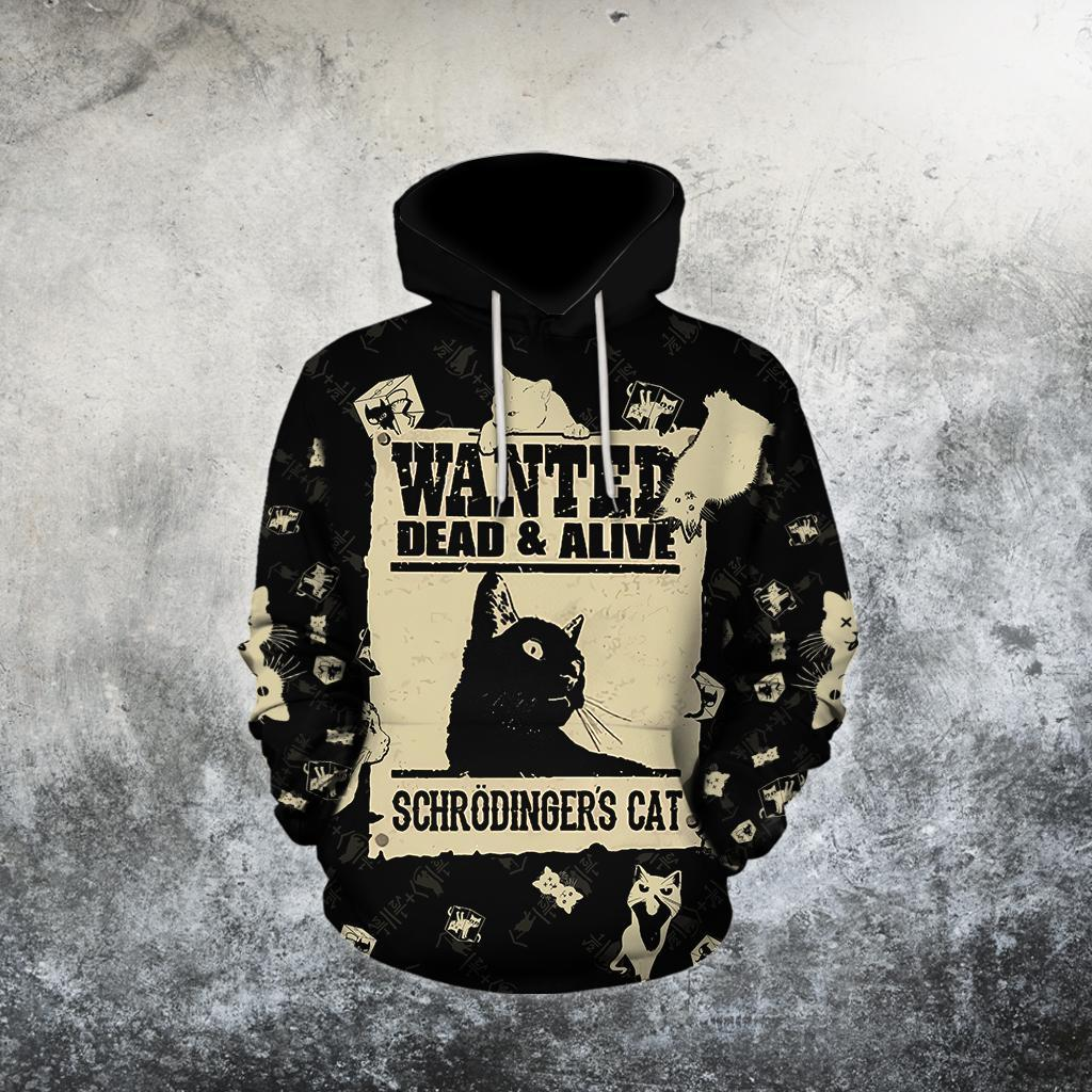 Cat Lover Schrodinger Cat Wanted Dead & Alive 3D Printed Hoodie