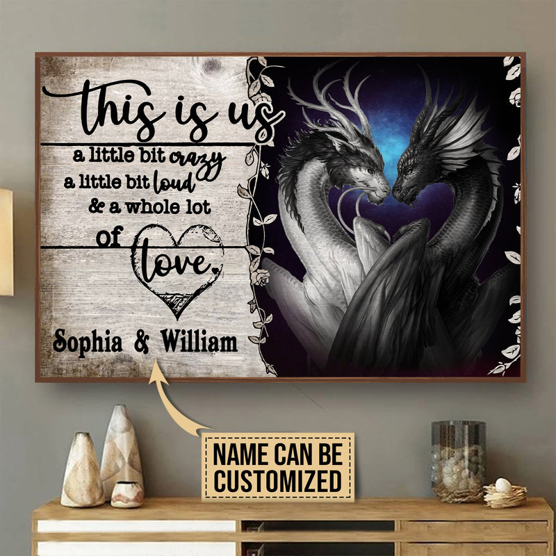 Customized Love Dragons Couple Valentine Gift Meaningful Quote Poster
