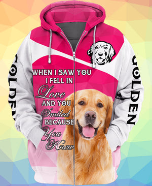 Love Golden Retriever Dog Pink 3D Printed Zip Hoodie