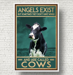 Angels Exist Are Cows Heifer Vintage Poster