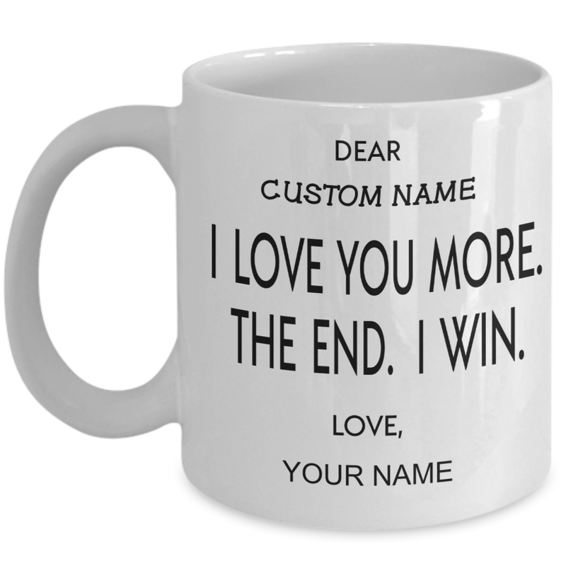 Personalized Customized Love You More Funny Couple Valentine Christmas Gift Mug