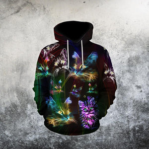 Cat Lover Amazing Colorful Hippie Cat 3D Printed Hoodie
