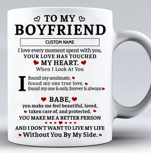 Personalized Customized Love Touched My Heart Valentine Gift For Boyfriend Mug