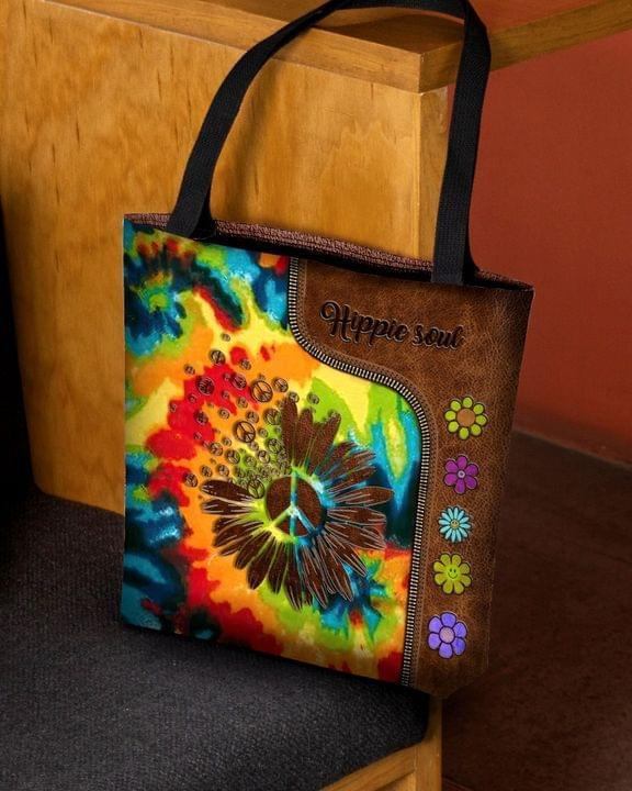 Hippie Lover 3D Printed Leather Pattern Tote Bag