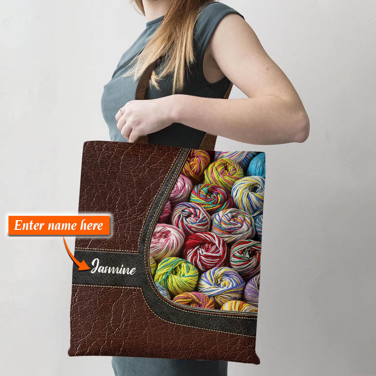 Personalized Customized Love Crochet Knitting 3D Printed Tote Bag