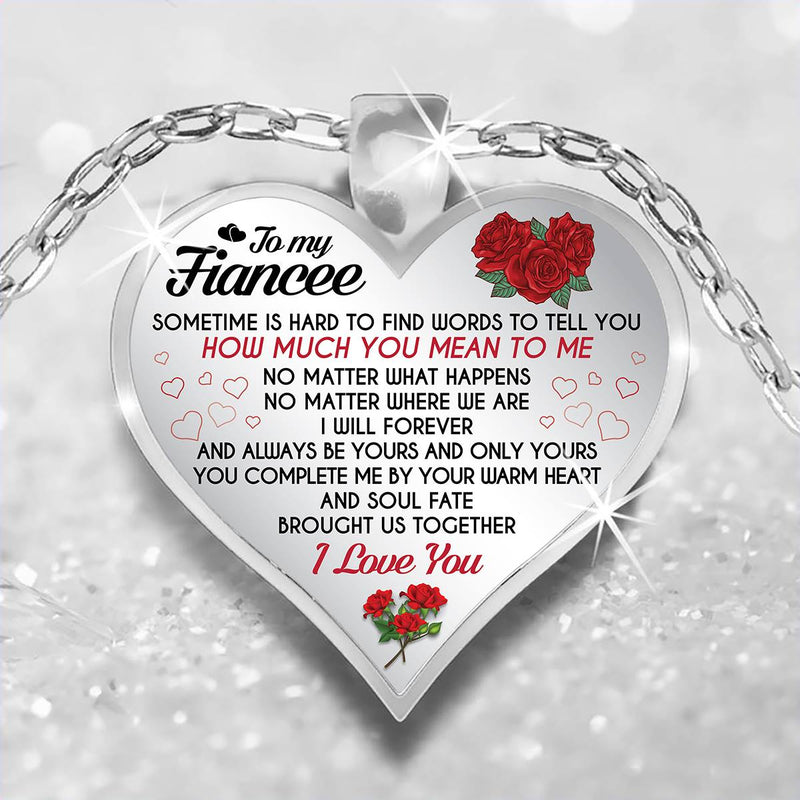 Roses Meaningful Quote Gift For Fiancee Love Couple Valentine Heart Necklace