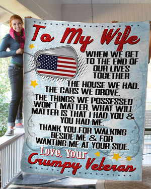 From US Grumpy Veteran To Wife Couple Valentine Gift Meaningful Quote 3D Printed Christmas Gift Quilt