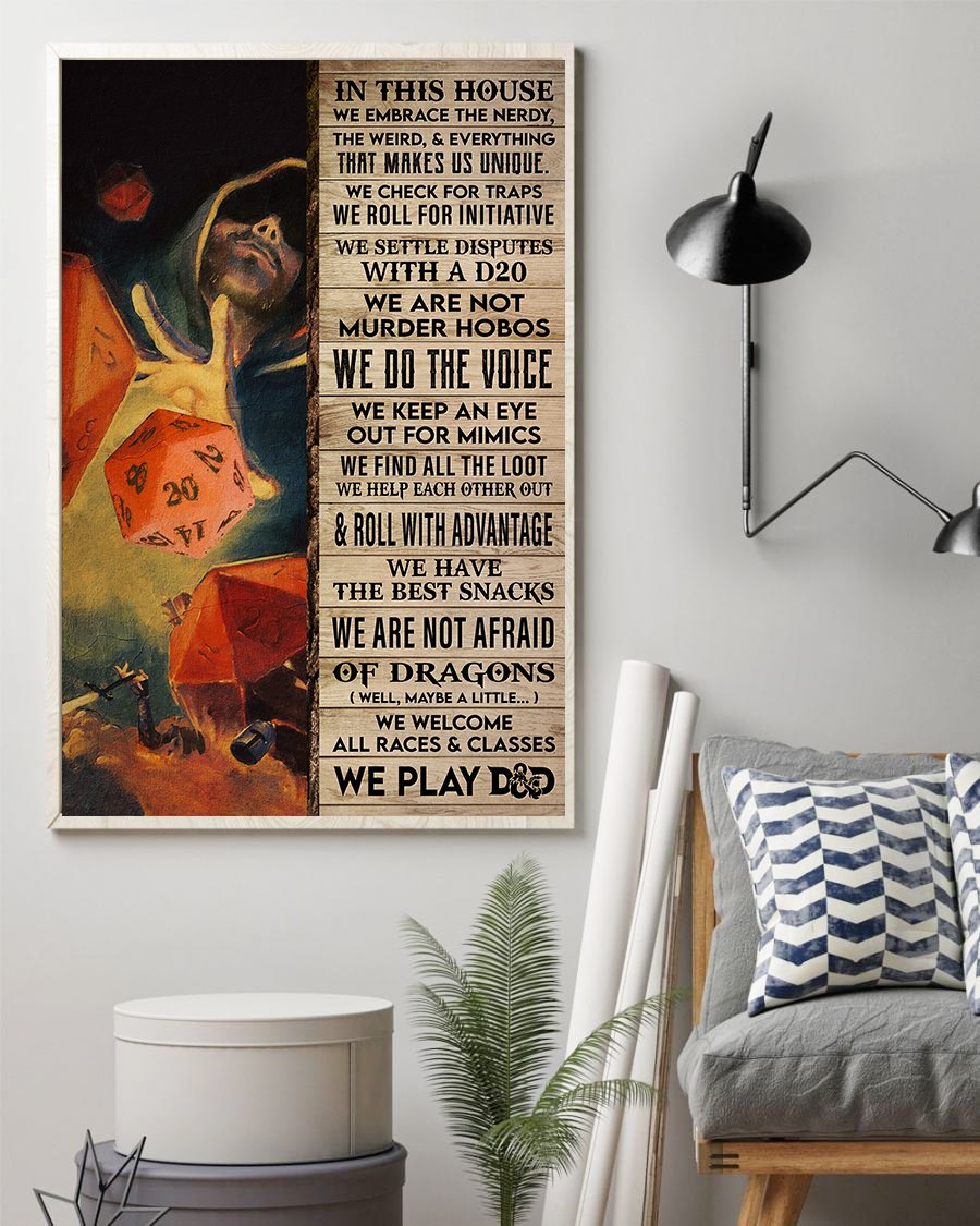 Love Playing Game In This House We Play D&D Meaningful Quote Vintage Gift Poster
