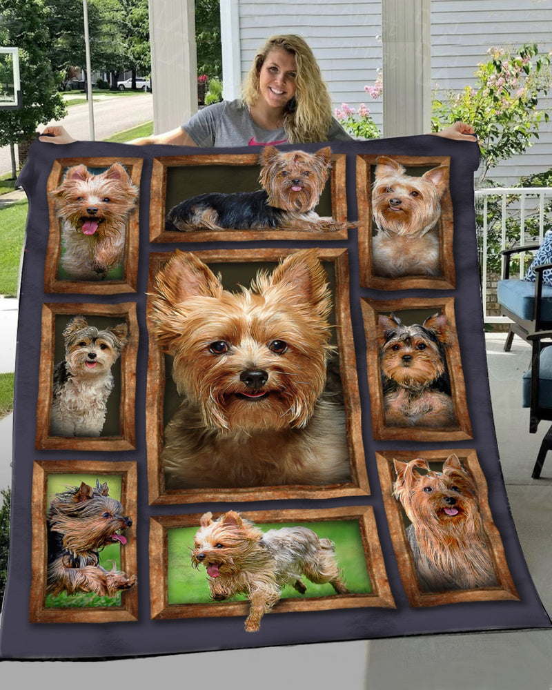 Love Yorkie Dog 3D Printed Christmas Gift Quilt