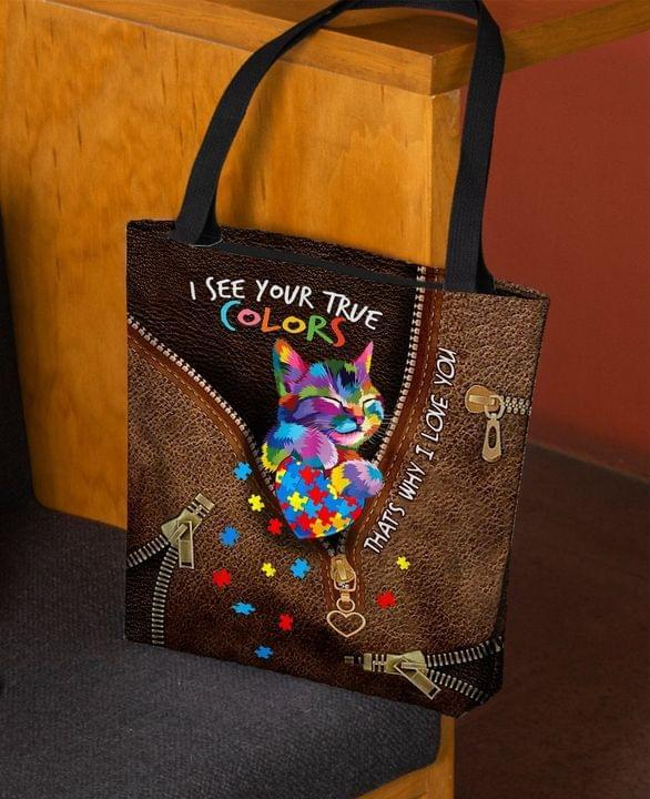 Cat Lover Cat Autism I See Your Your True Colors Leather Pattern Tote Bag