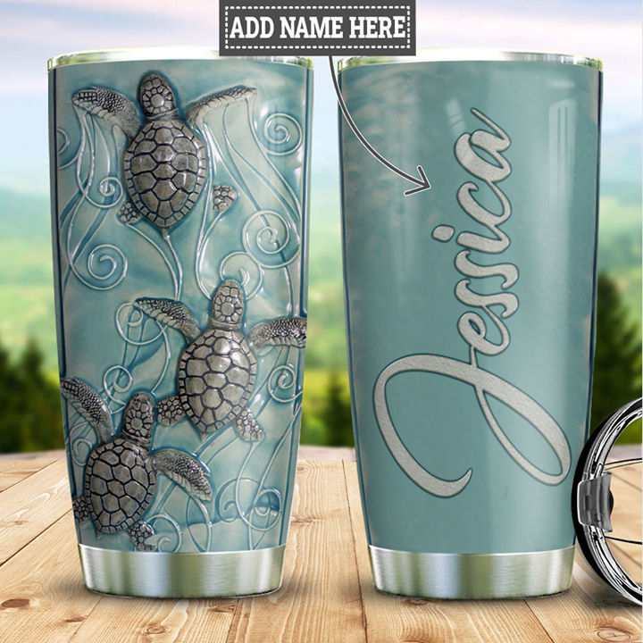 Personalized Customized Stoned Sea Turtles Printed Stainless Steel Tumbler