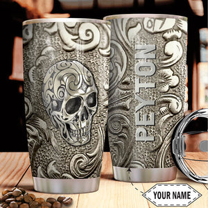 Personalized Customized Metal Skull Art Printed Stainless Steel Tumbler