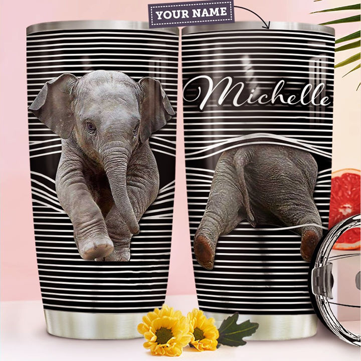 Personalized Customized Elephant 3D Art Printed Stainless Steel Tumbler