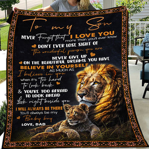 To Son Never Forget That I Love You From Dad Lion Christmas Gift Quilt