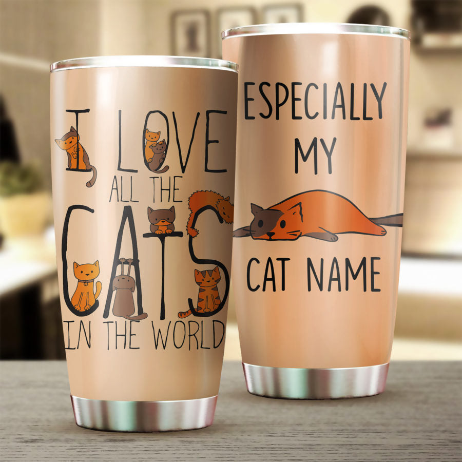 Customized I Love All The Cats Tumbler