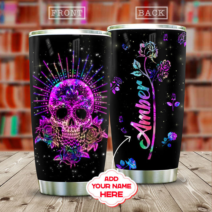 Personalized Customized Hologram Skull Floral Printed Stainless Steel Tumbler
