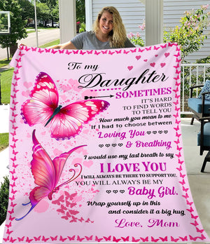 To Daughter Baby Girl Loving You From Mom Pink Butterfly Christmas Gift Quilt