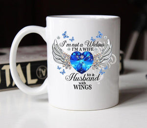 Wife Of Husband With Wings Not A Widow Christmas Gift Mug