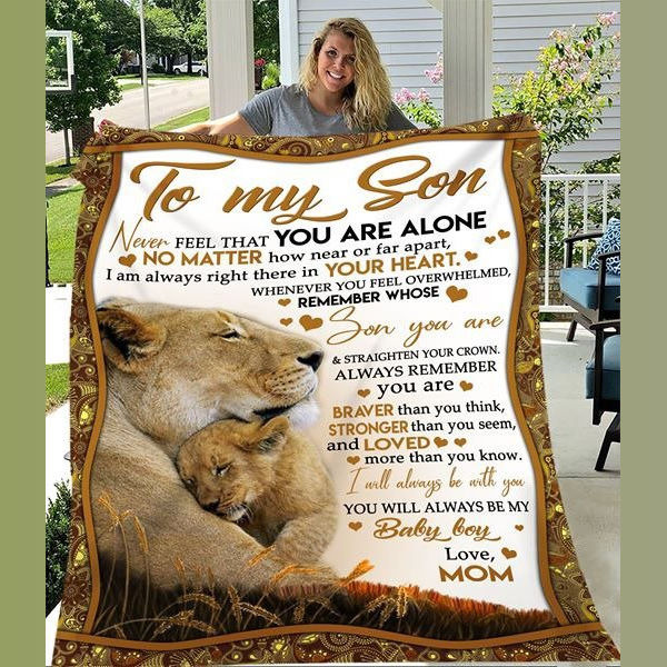 To Son You Are Not Alone Love You From Mom Lion Christmas Gift Quilt