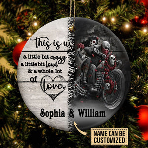Personalized Customized Skull Couple Love Crazy A Lot Ornament