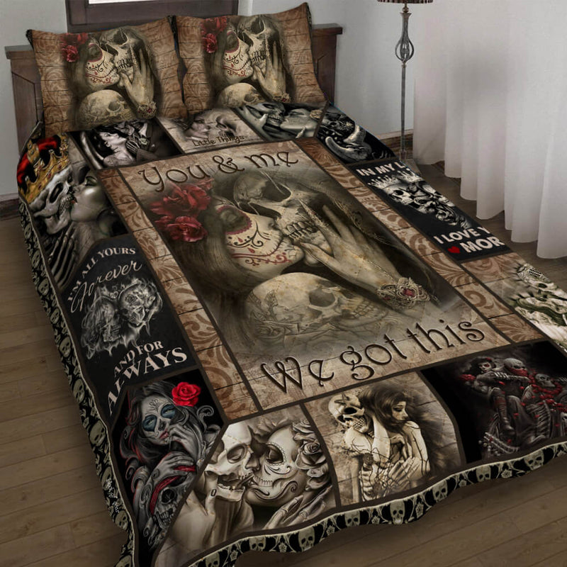 Skull Sugar Couple You & Me Valentine Christmas Gift Bedding Set