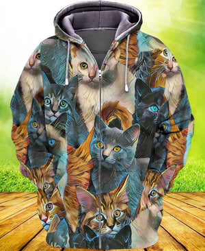 Cat Art Love Zip Hoodie