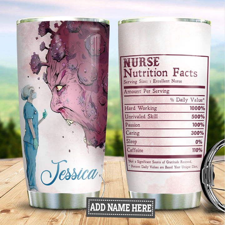 Personalized Customized Nurse Nutrition Facts Hard Working Gift Printed Stainless Steel Tumbler