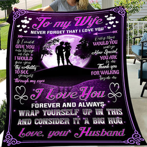To Wife Love You Forever Always Wrap Yourself Up In This From Husband Purple Couple Christmas Gift Quilt