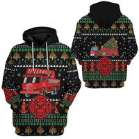 Symbol Firefighter Truck Ugly Christmas Printed 3D Hoodie