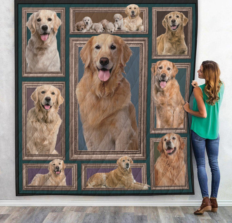 Love Real Golden Retriever Dog 3D Printed Christmas Gift Quilt