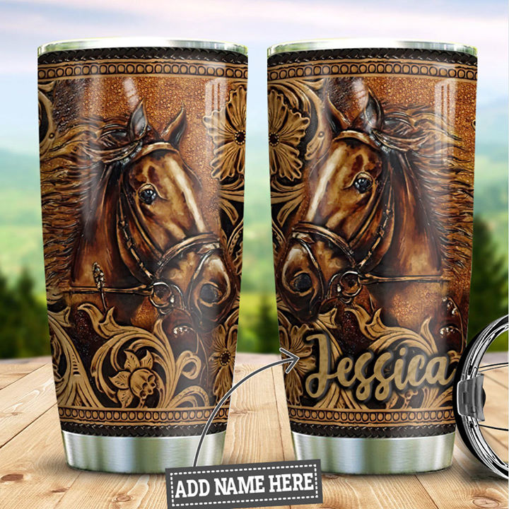 Customized Love Horse Art Gift Printed Stainless Steel Tumbler