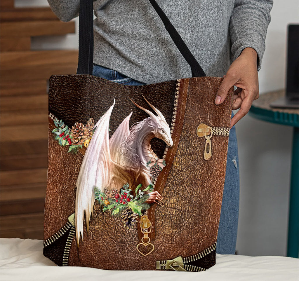 Dragon Flower Christmas Leather Pattern Print Tote Bag