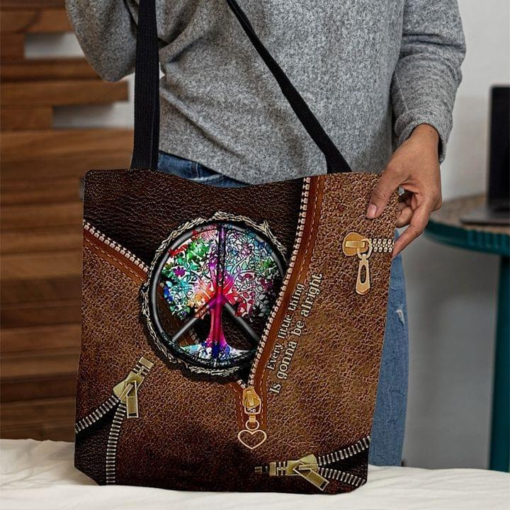 Hippie Lover 3D Printed Leather Pattern Hippie Symbol Tote Bag