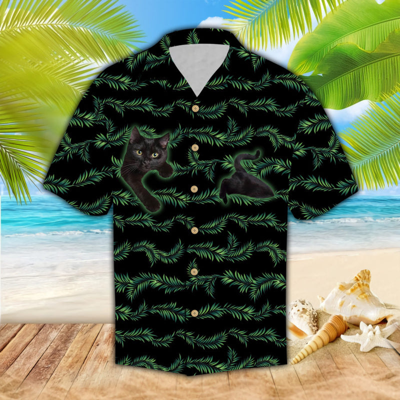 Cat In Leaf Line Hawaii Shirt