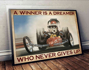 Racer Love Racing Car Never Give Up Meaningful Quote Vintage Gift Poster