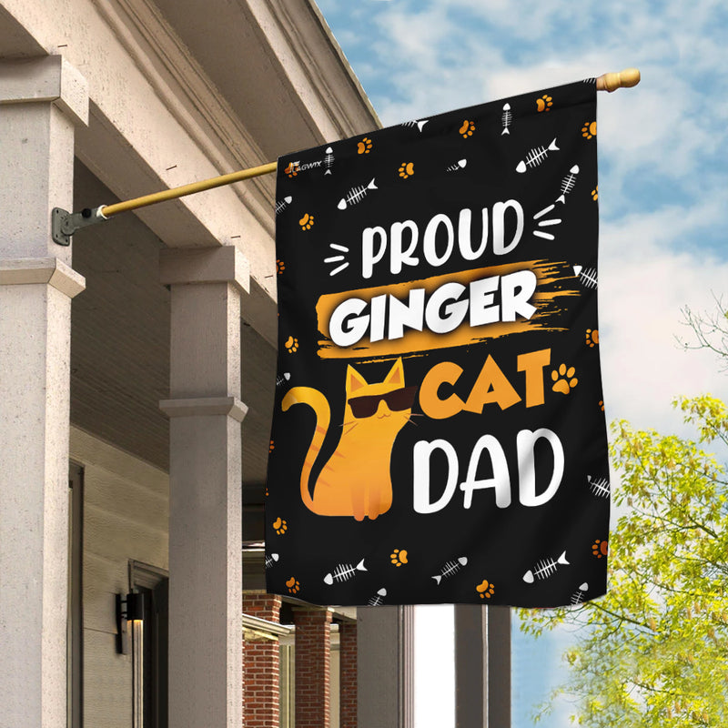 Proud Ginger Cat Dad Flag