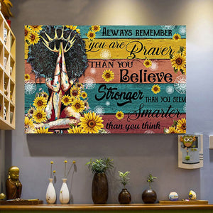 Black Queen Brave Strong Smart Sunflower Meaningful Quote Vintage Gift Poster